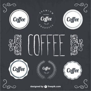 Coffee Badges Blackboard Style Free Vector