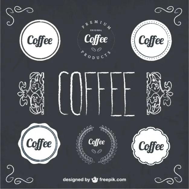 Coffee Badges Blackboard Style Free Vector