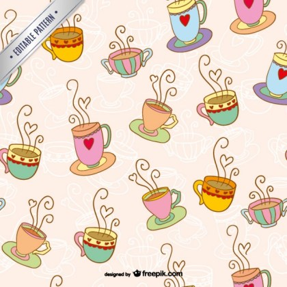 Coffee Cups Pattern Free Vector