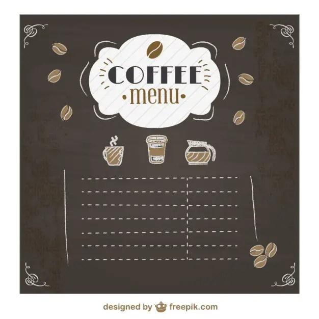 Coffee Menu Chalkboard Design Free Vector