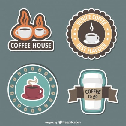 Coffee Shop Stickers Free Vector