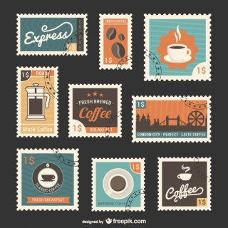 Coffee Stamps Set Free Vector