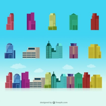Colorful Buildings Collection Free Vector