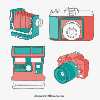 Colorful Cameras in Vintage Style Free Vector