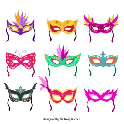 Colorful Carnival Masks Collection Free Vector