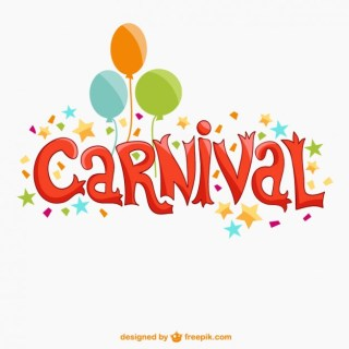 Colorful Carnival Text with Balloons Free Vector
