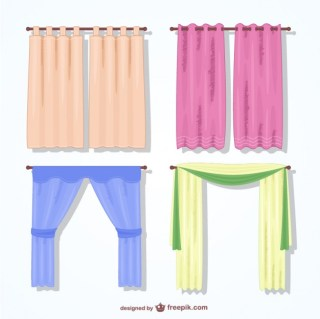Colorful Curtains Pack Free Vector