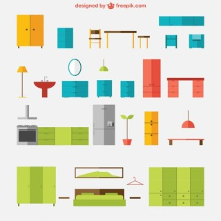 Colorful Furniture Pack Free Vector
