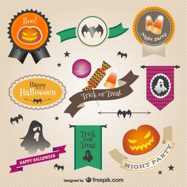 Colorful Halloween Stickers Free Vector