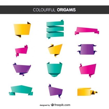 Colorful Origami Pack Free Vector