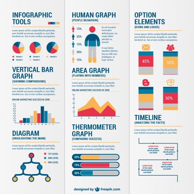 Colorful Resources for Infographics Free Vector