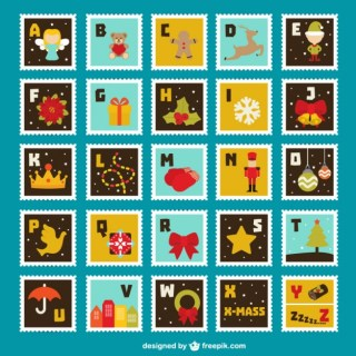 Colorful Stamps Collection Free Vector