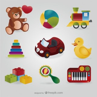 Colorful Toys Pack Free Vector