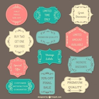 Colorful Vintage Labels Free Vector