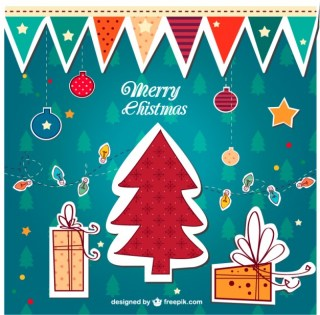 Colorful Vintage Merry Christmas Free Vector