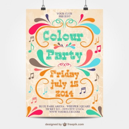 Colour Party Poster Free Vector
