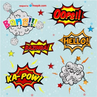 Comic Book Words Set Free Vector