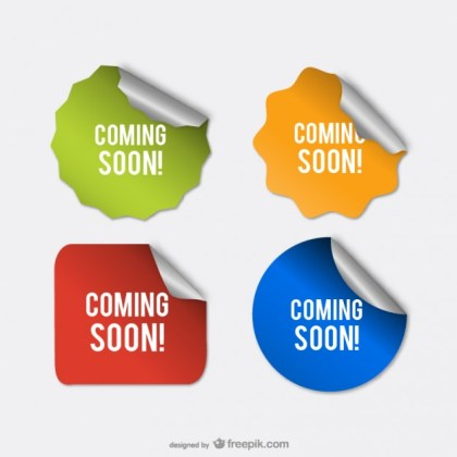 Coming Soon Stickers Free Vector