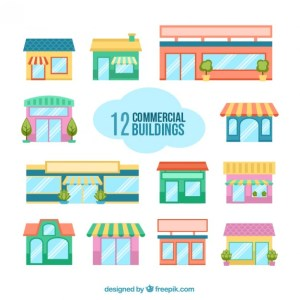 Commercial Buildings Free Vector