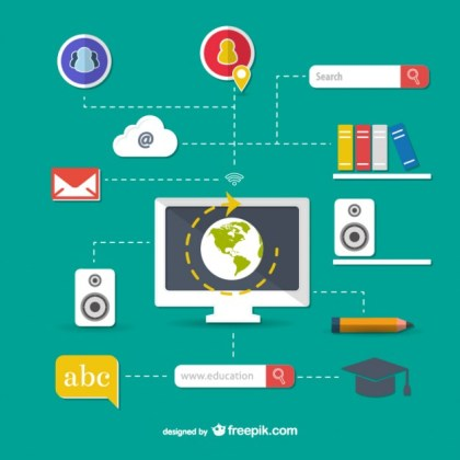 Computers and Education Concepts Free Vector