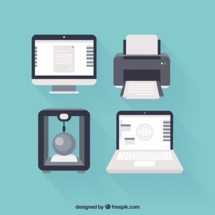 Computers and Printers Icons Free Vector