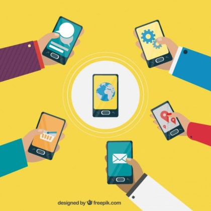 Connecting Smartphones Free Vector