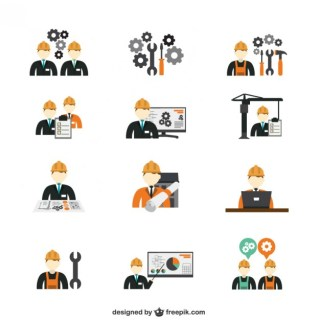 Construction Engineer Icons Free Vector