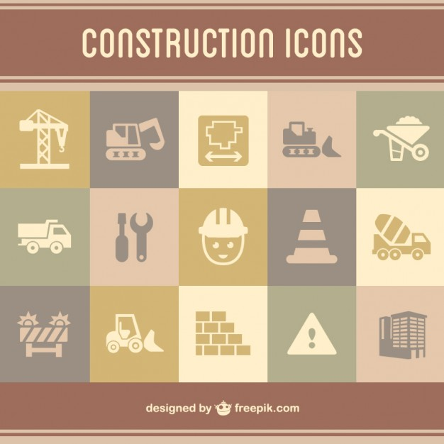 Construction Flat Icons Set Free Vector