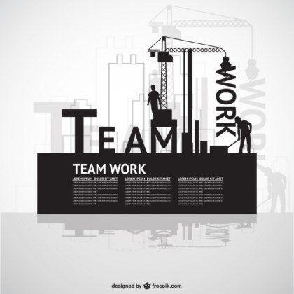 Construction Team Work Template Free Vector
