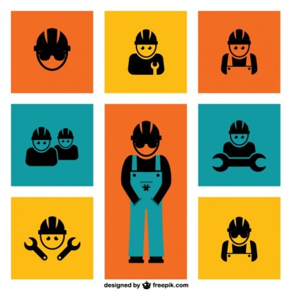 Construction Workers Elements Free Vector