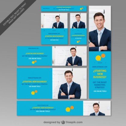 Corporate Web and Marketing Banner Free Vector