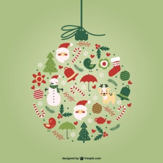 Creative Christmas Ball Free Vector