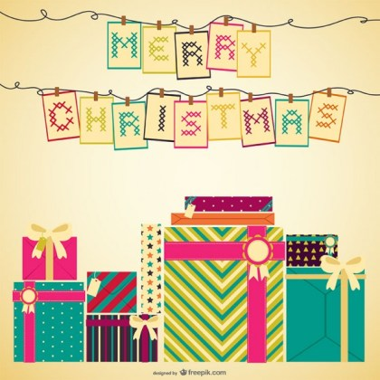 Cross Stitch Christmas Card Free Vector