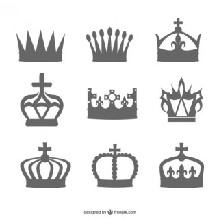 Crown Black Silhouette Set Free Vector