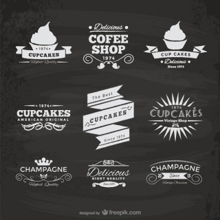 Cupcakes and Coffee Shop Stickers Free Vector