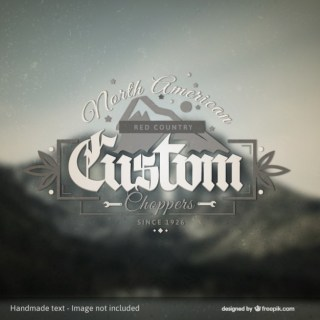 Custom Choppers Badge Over Photo Background Free Vector