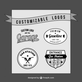 Customizable Retro Logos Set Free Vector