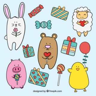 Cute Animals and Gifts Free Vector