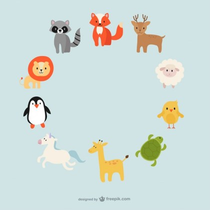 Cute Animals Circle Free Vector