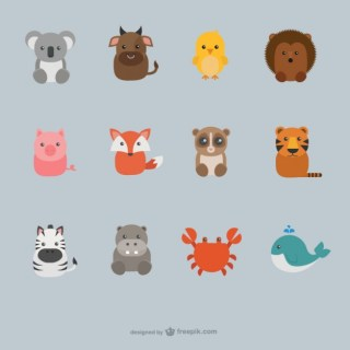 Cute Animals Collection Free Vector