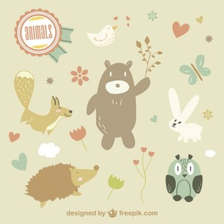Cute Animals Illustration Free Vector