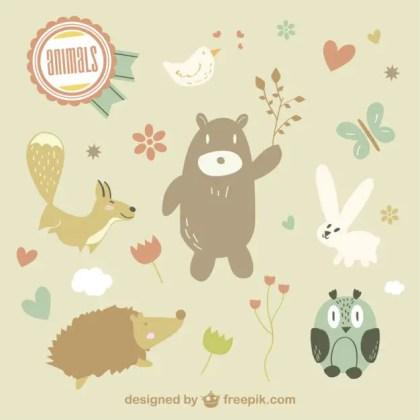 Cute Animals Illustration Free Vector