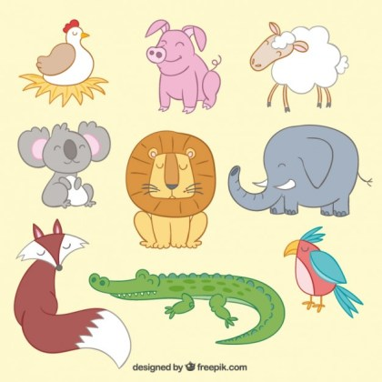 Cute Animals in Illustration Style Free Vector