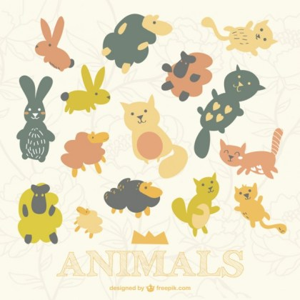 Cute Animals Pattern Free Vector