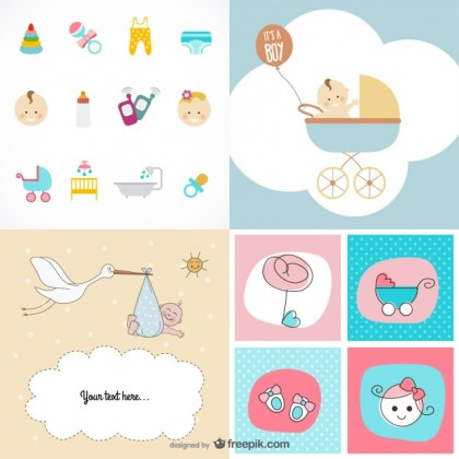 Cute Baby Items Theme Material Free Vector