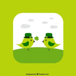 Cute Birds for Saint Patricks Day Free Vector