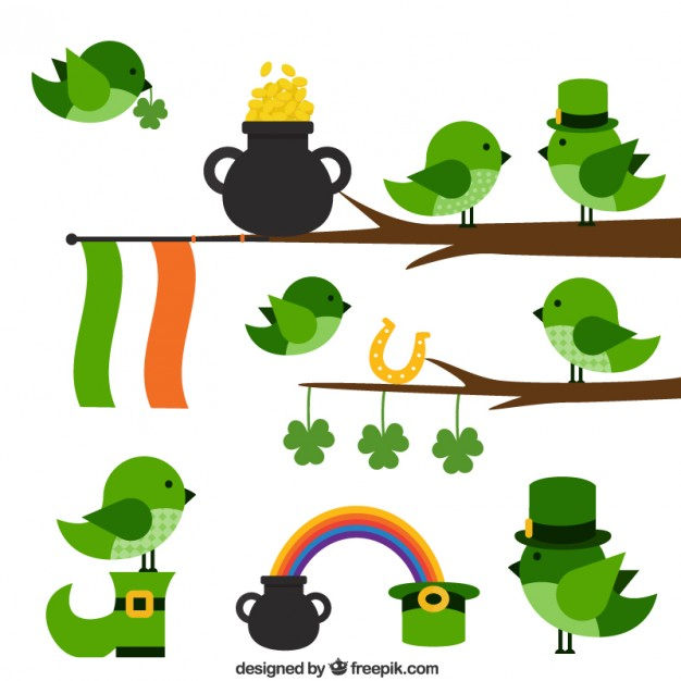 Cute Birds for Saint Patricks Day Free Vector