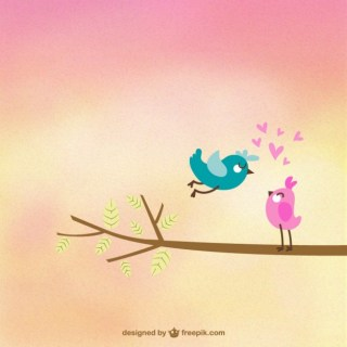 Cute Birds in Love Free Vector