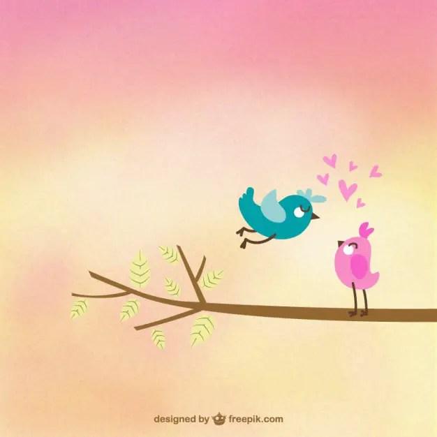 Cute Birds in Love Free Vector
