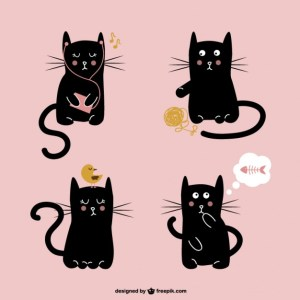 Cute Black Cat Illustration Free Vector